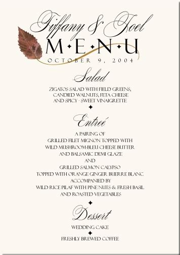 wedding menus buffet fall wedding menu cards wedding menus fall