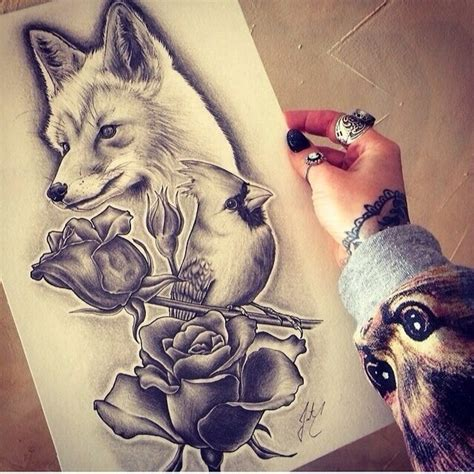 graphic fox tattoo design best tattoo designs