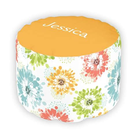 orange pouf ottoman multi colored poppy flower pouf ottoman orange