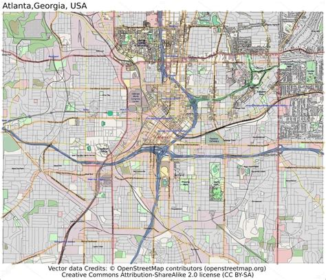atlanta map usa stadtplan atlanta usa stockvektor 66540407