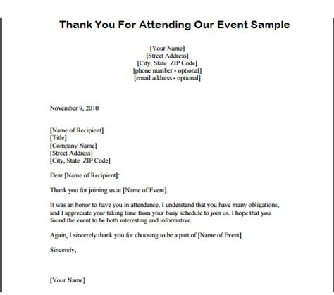 Thank You Note To Our Thank You For Attending Our Seminar Letter Free Program Downloads