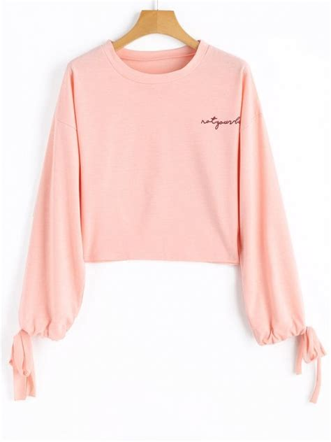 letter cropped hoodie pink m drawstring sleeve letter cropped sweatshirt pink