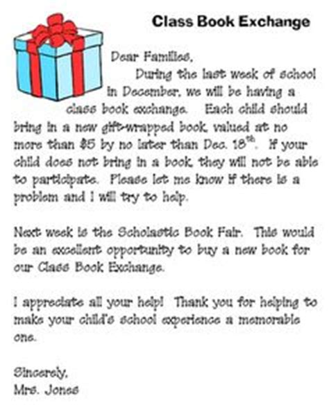 Gift Exchange Letter For Book Exchange Letter School Holidays Themes Book Letters And Schools