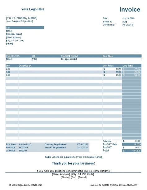 service invoice template free download and software