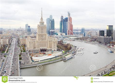 House Building Plans And Prices Hotel Ukraine And Moscow City Business Complex Stock Photo