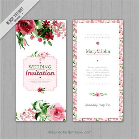 Hochzeitseinladung Aquarell by Watercolor Floral Wedding Invitation Vector Free