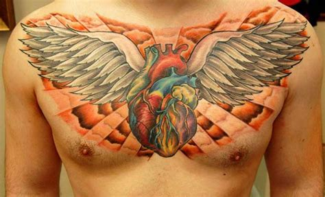heart with wings tattoos two real tattoos on left chest chest