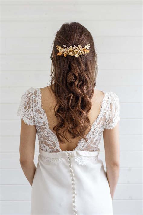 hair wedding carris gold hair comb millesime
