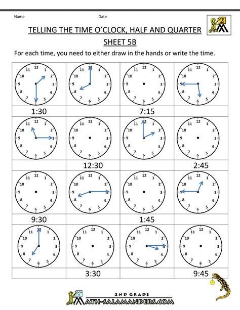 Time To The Hour Worksheets by Time Worksheet O Clock Quarter And Half Past