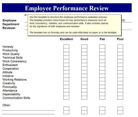 employment review template employee performance review employee perormance review form