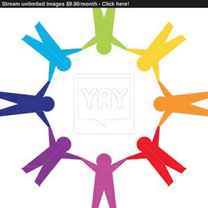 paper people in circle holding hands vector yayimages com
