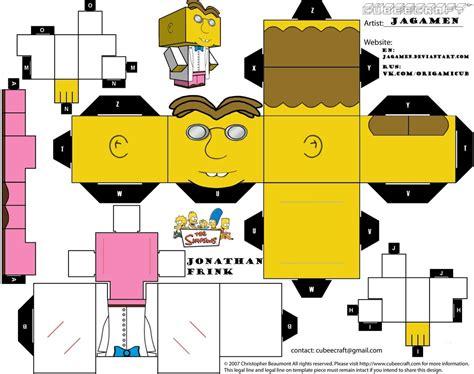 Simpsons Papercraft - jonathan frink cubeecraft by jagamen on deviantart