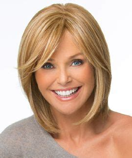long bob with razored ends and side swept bangs medium 17 best images about christie brinkley wig collection on