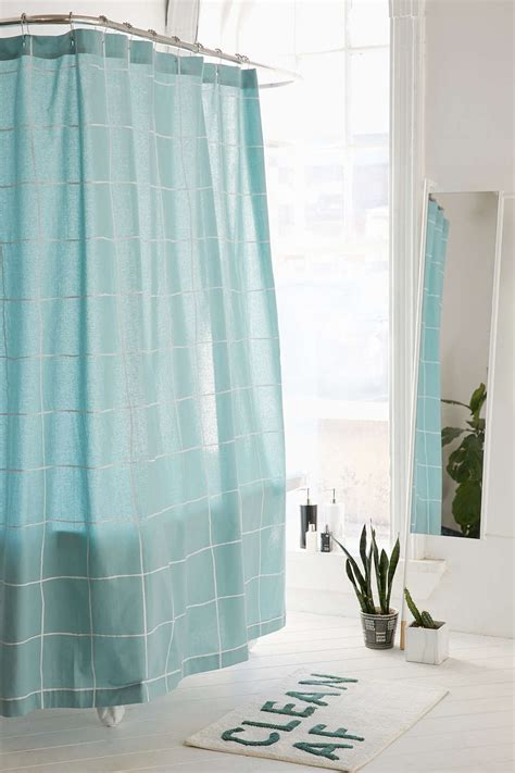 grid shower curtain wonky grid shower curtain in sky everything turquoise