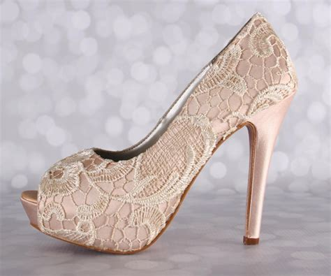 chagne colored wedding shoes wedding shoes blush wedding shoes lace bridal heels high