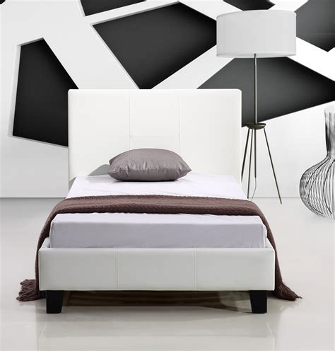 Pu Bed Frame Buy Single Pu Leather Bed Frame White At Ikoala