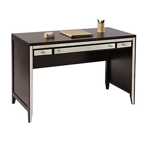Mirrored Office Desk See Work Vivien Mirrored Desk 30 H X 47 14 W X 23 18 D Espresso By Office Depot Officemax