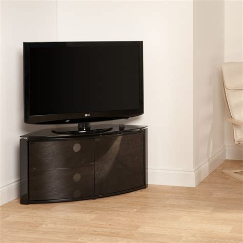 Glass Tv Cabinet With Doors Black Curved Tv Stand Inc Glass Door 32 42 Inch Screen Ebay