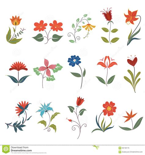 design elements flower shop cute flower elements stock vector image 60746175