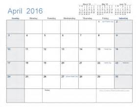 2016 Calendar Template by April 2016 Calendar Template 2016