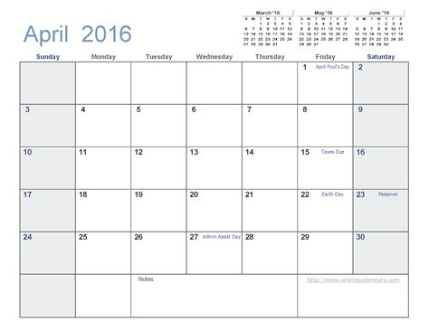 Calendar Templates 2016 April 2016 Calendar Template 2016