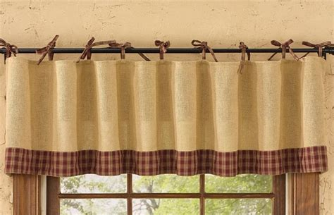 country porch curtains wine burlap tie sturbridge curtain valance 72 quot x 14