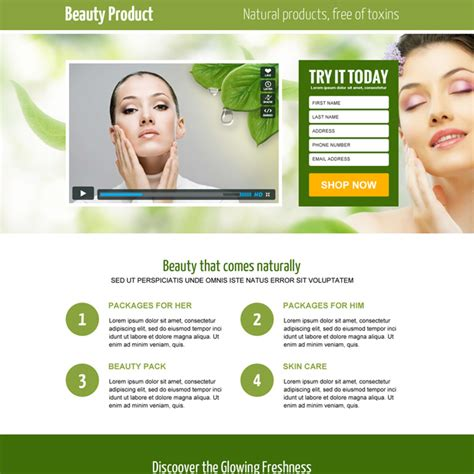 responsive beauty product landing page design templates to