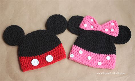 crochet pattern 1 year old hat mickey and minnie mouse crochet hat pattern repeat