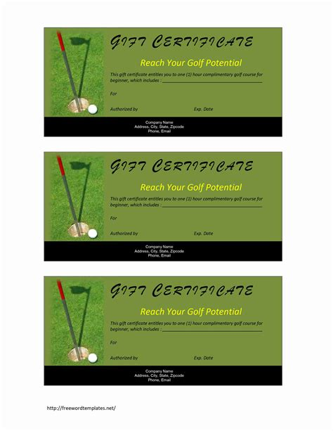 golf gift card template golf gift certificate