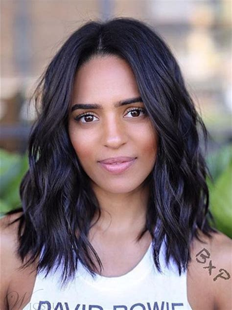 Hairstyles For Black Length by Graceful Black Wavy Shoulder Length Human Hair Wig For