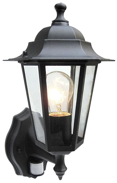 outdoor 6 sided wall lantern black or white with pir