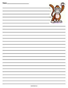 monkey writing paper earth writing lined paper earth day earth and paper