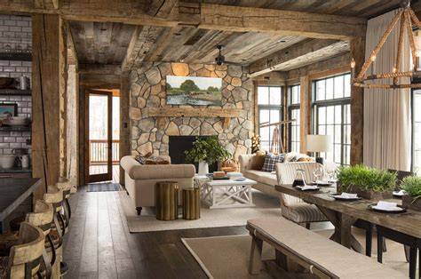 lake home interiors rustic lakeside retreat in wisconsin features inviting