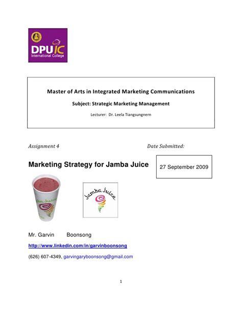Integrated Marketing Communication Mba Syllabus by Jamba Juicethailand