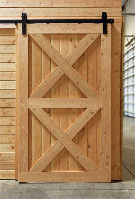 Interior Rustic Barn Door With Double Crossbuck Sliding Rustic Barn Door Track