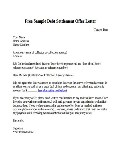 settlement letter template 73 offer letter templates free premium templates