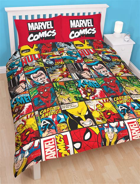Marvel Comics Defenders Double Duvet Quilt Cover Boys Marvel Bedding Sets