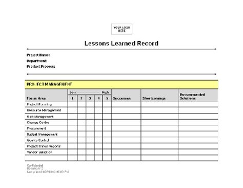 Lessons Learned Record Template For Word 2003 Or Newer
