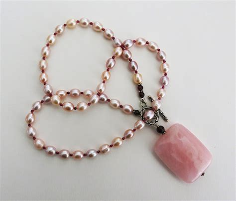 Handmade Necklaces - handmade pearl necklace with quartz handmade jewelry