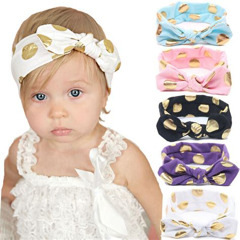 Headband Import Top Baby 4 1 pcs gold polka dots baby cotton headband knotted bow wraps summer hair bands baby