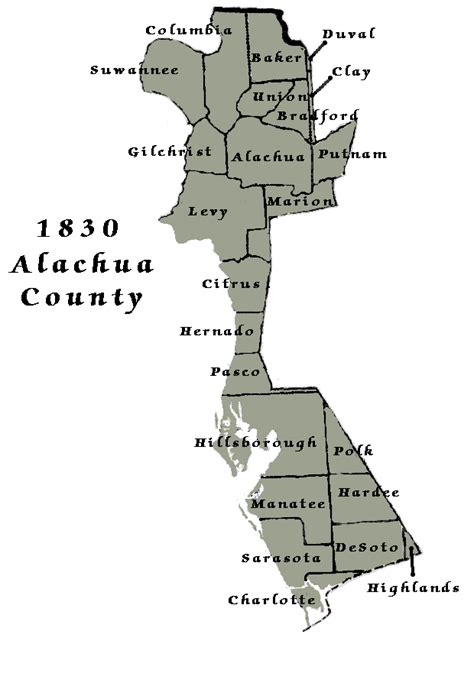 Alachua Records 1830 Census Map Alachua County