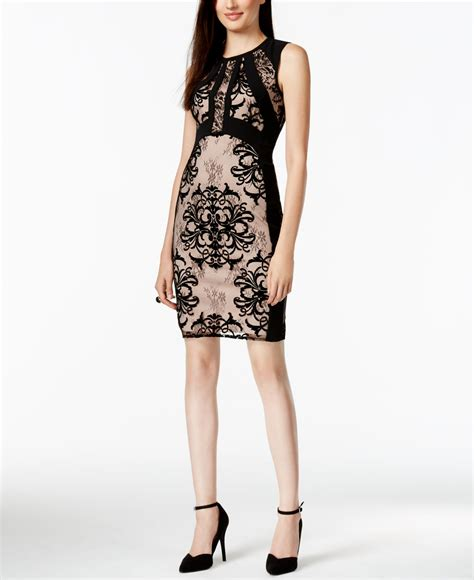 Ivanka Black Dress ivanka lace combo sheath dress in black lyst