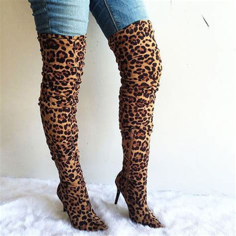 shoes fall fashion leopard print thigh high