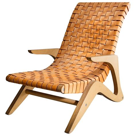 webbed chaise lounge chairs chaise lounge in plywood with webbed leather seat by jose