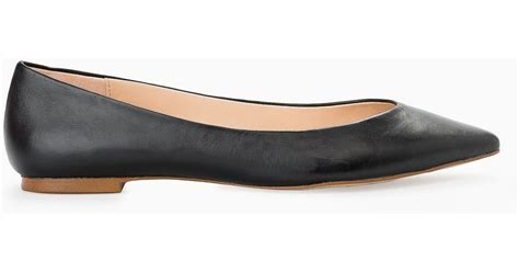 flat black leather shoes mango leather flat shoes in black lyst