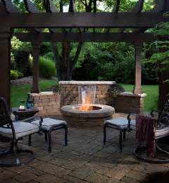 Backyard Patio Design Ideas Rustic Design With Great Wooden Roof Above Small Circle Brick Fireplace On Paving Floor And