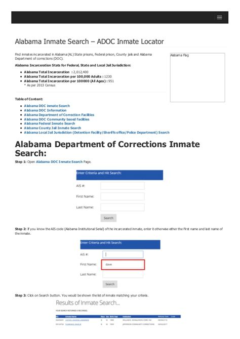 Alabama Search Alabama Inmate Search Department Of Corrections Lookup