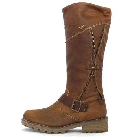 leather boots rieker brown leather winter boots from