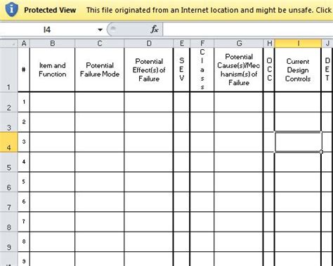 pfmea potential failure modes  effects analysis information template sheet excel