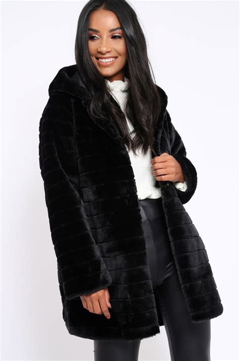Faux Fur Hooded Coat black soft faux fur hooded coat kila